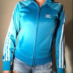 blue adidas track sweater